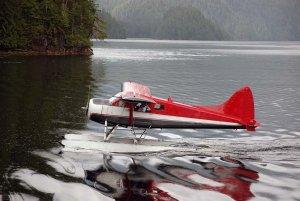 Water plane skimming on lake bed