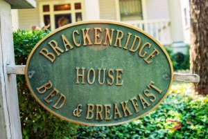 Brackenridge house bed and breakfast sign