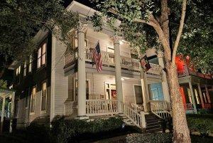 Brackenridge house lit up at night
