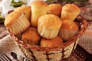 Muffins in a wicker basket