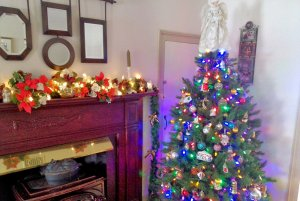Christmas tree next to fireplace and portraits