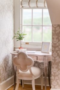 Writing desk facing the window
