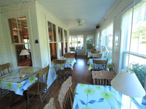 Dining room with tables along large windows