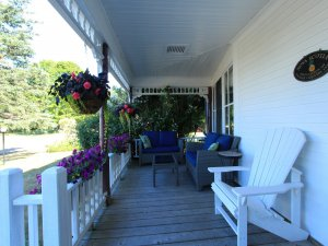 Furniture on shaded porch