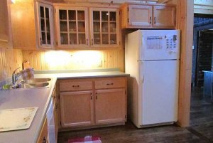 Kitchen fridge, cabinets, and countertop