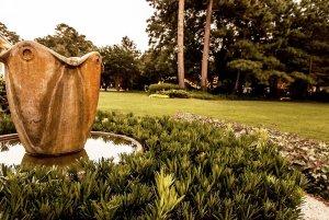 Fountain in large yard