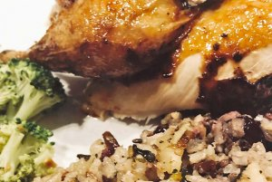 Chicken, rice, and broccolli