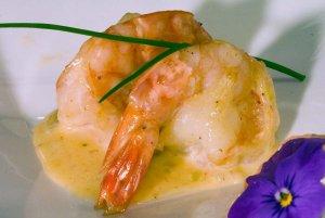 Sauced shrimp on a plate