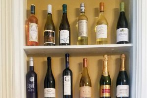 Bottles of wine on shelves