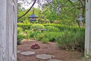 Birdhouse over stone path