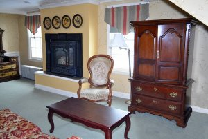 Sitting area with view of fireplace
