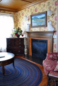 View of table and fireplace