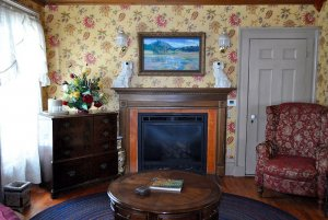 View of fireplace and dresser