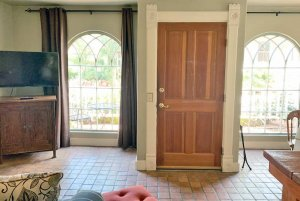 front door and two cathedral windows