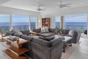 Living area with view of the ocean