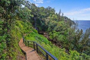 Wood path to waterfall