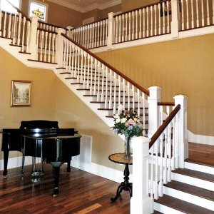 stair case and grand piano
