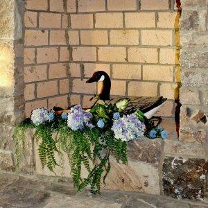 Goose in flowers