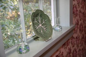 Glass decorations on a windowsill