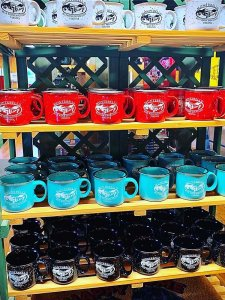 souvenir mugs on display