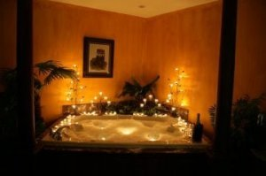 Jetted tub with romantic lighting
