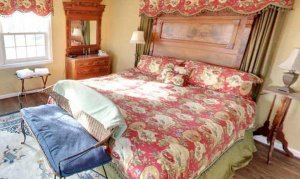 Bed and wooden dresser