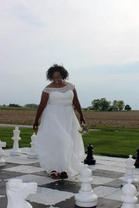 bride on giant chess board