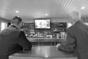 men watching football during reception