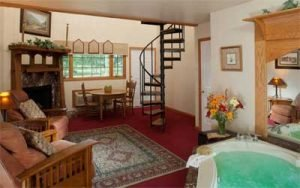 Room with spiral staircase