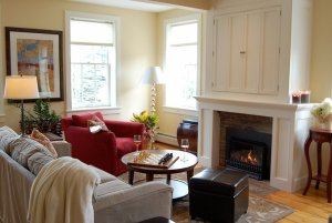 view of living room and fireplace