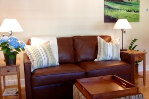 view of couch and side tables