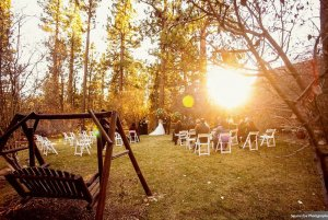 Sun setting on altar and ceremony seating