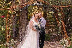 Bride and groom together at altar