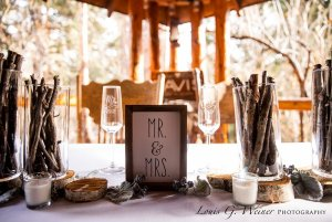 Mr and Mrs sign at decorated table