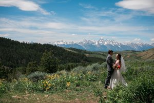 Married couple on mountain top
