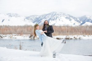 A bride and groom eloping in the grand teton national park in winter