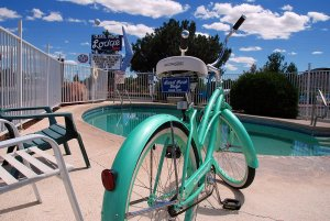 bike next to pool