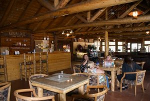 Dining table and chairs in main lodge