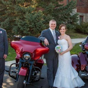 Chapel of the Archangels bride and groom by motorcycle