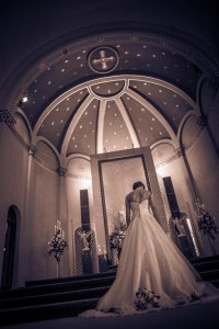 Chapel of the Archangels bride at altar
