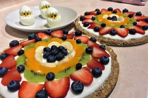 Fruit Pizza with boiled eggs