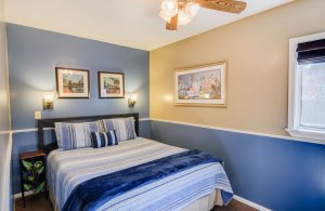 Queen Bed with Blue Throw Blanket
