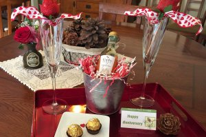 Anniversary Package with chocolates and alcohol