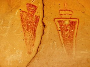A pictograph of two human figures
