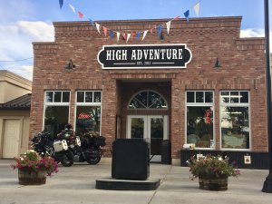 Brick building labelled high adventure