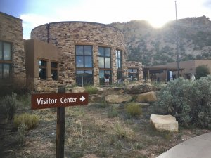 Sign directing viewers to a Visitor Center