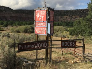 Sign for petrified wood, rocks, and other souvenirs