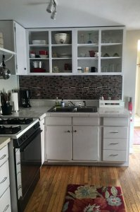 kitchen with white cabin