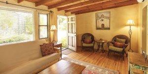 The livingroom with the front door open