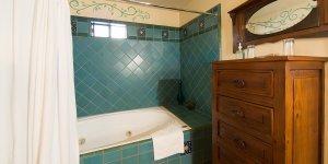 A bathroom shower with blue tile